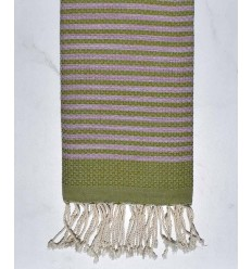 Beach towel zebra Honeycomb olive green and light purple
