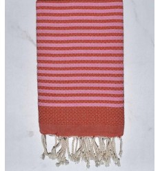 Fouta nid d'abeille zèbre orange et rose