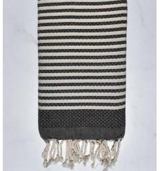 Beach towel zebra Honeycomb dark taupe and creamy white