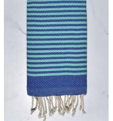 Beach towel zebra Honeycomb royal blue and turquoise blue