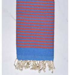 Beach towel zebra Honeycomb bleu de France and orange