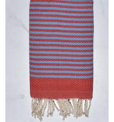 Beach towel zebra Honeycomb bright red and sky blue