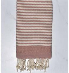 Beach towel zebra Honeycomb creamy white and pale pink