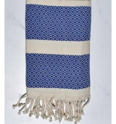 Chevron light angora and blue beach towel