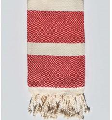 chevron white cream clear and red beach towel