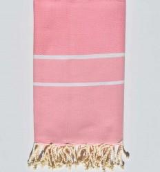 Fouta chevron couleur rose dragée