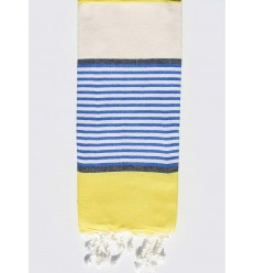 Fouta Enfant blanc crème, jaune, bleu et gris ardoise