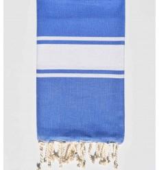 beach towel flat cerulean blue