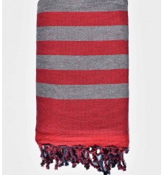 Dark red and gray beach towel sponge