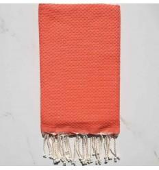 plain honeycomb medium coral beach towel