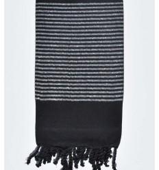 Black decorative beach towel with silver lurex thread