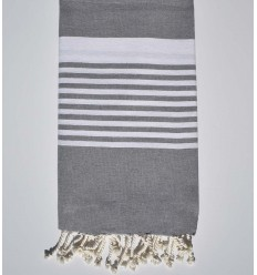 Arthur medium gray fouta with stripes