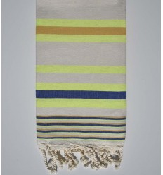 dina light ecru with navy blue, neon yellow and mustard yellow stripes beach towel