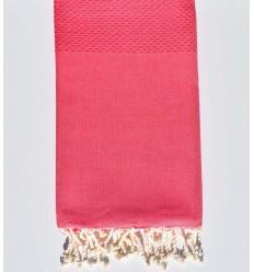 plain honeycomb light bright pink beach towel