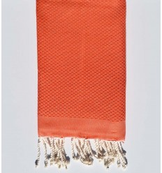 plain honeycomb dark coral orange beach towel