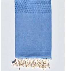 Fouta nid d'abeille unie bleu bleuet