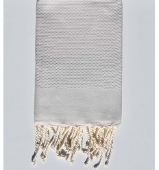 plain honeycomb very light clay gray beach towel